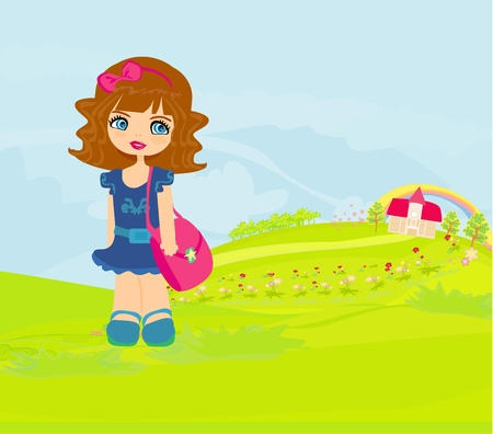 girl going to school  Ilustracja