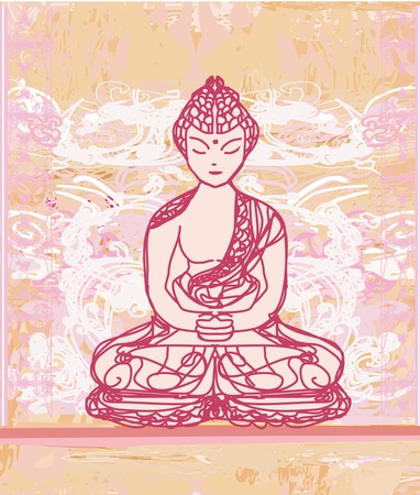 chinese buddha: Chinese Traditional Artistic Buddhism Pattern  Illustration