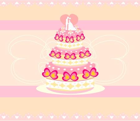 wedding cake card design Stock Vector - 12744539