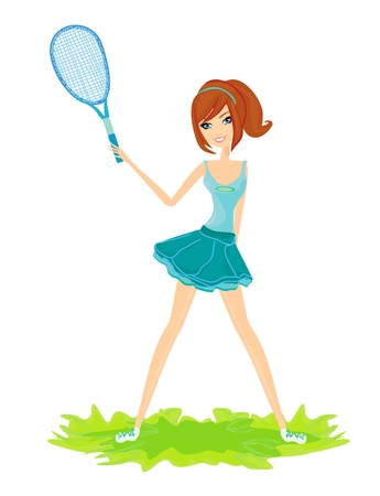 Young girl with a tennis racket over white background  Ilustracja