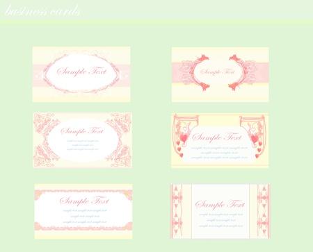 pink business floral card set  Illustration
