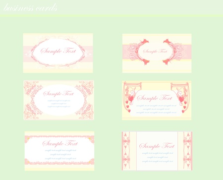 pink business floral card set  Vector