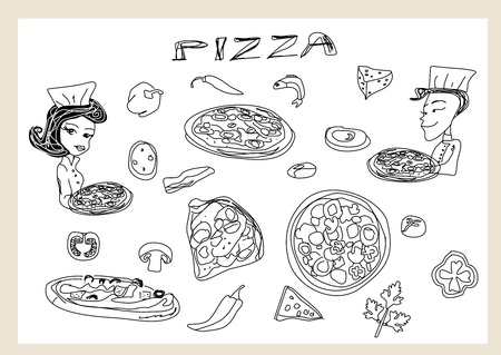 Pizza and vegetables set