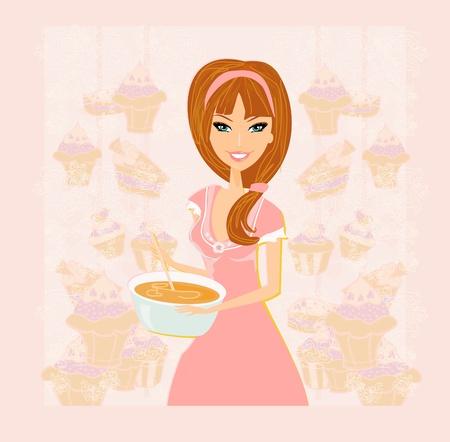 casalinga: Casalinga cucina dolce Vettoriali