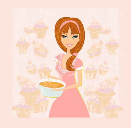 retro housewife: sweet Housewife cooking  Illustration