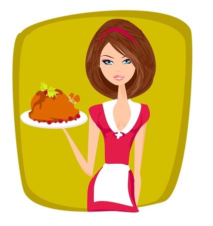 Piękna kelnerka serwuje kurczaka