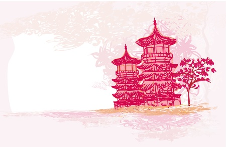 old paper with Asian Landscape Stock Vector - 12885610
