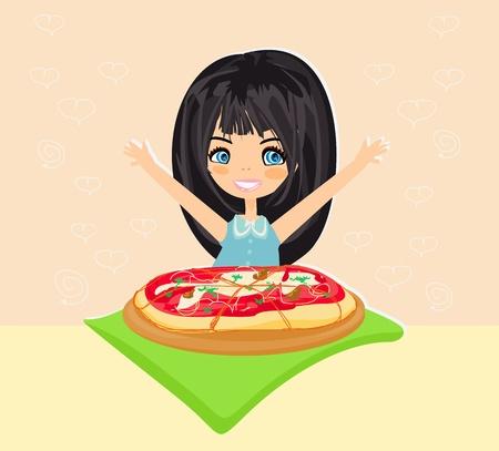 eats: little girl eating pizza