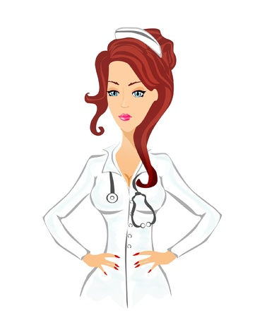 Beautiful cartoon nurse on white background Stock Vector - 12885539