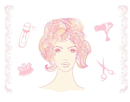 hairdressing scissors: Vector illustration of a pretty girl in a hairdresser salon