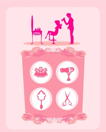 beautiful woman silhouette in barber shop Illustration