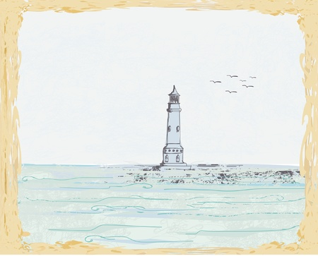 lighthouse seen from a tiny beach Vector