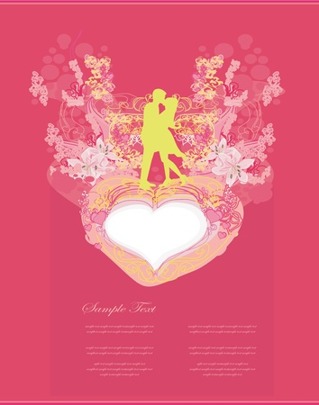 Floral greeting card with silhouette of romantic couple Stock Vector - 12885635