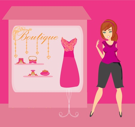 Full lady chooses dresses  Vector