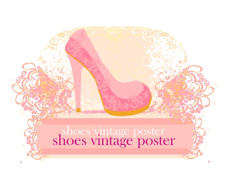shoes vintage poster Stock Vector - 12885632