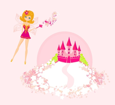 fairy flying above castle  Stock Vector - 12885642
