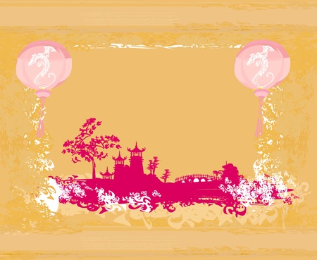 old paper with Asian Landscape and Chinese Lanterns - vintage japanese style background  Stock Vector - 12885640