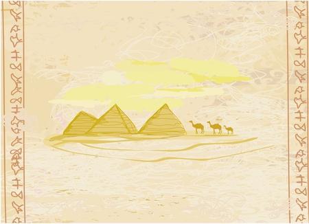 giza: old paper with pyramids giza