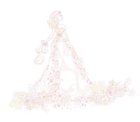 pink dress: Abstract Beautiful floral bride