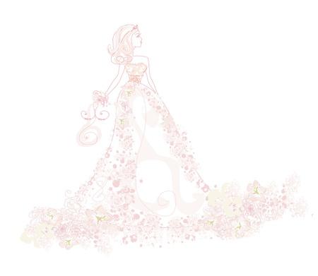 robes de soir�e: R�sum� mari�e Belle floral Illustration
