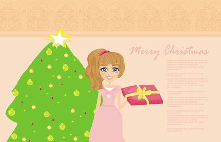 cute girl with gift box near by Christmas Tree  Vector