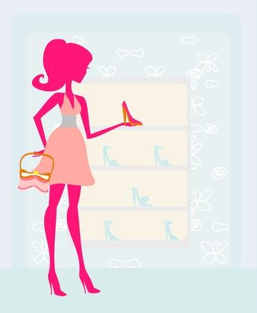 Fashion girl shopping in shoe shop  Vector