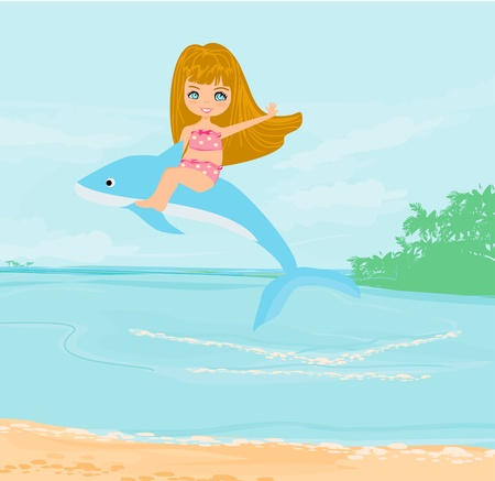 cute girl is riding a dolphin  Vector