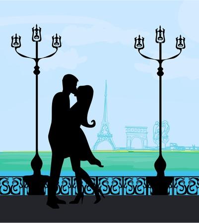Romantic couple in Paris kissing near the Eiffel Tower  Retro card   Illustration