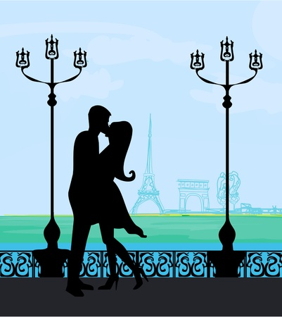 french culture: Romantic couple in Paris kissing near the Eiffel Tower  Retro card   Illustration