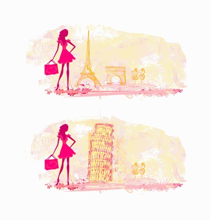 beautiful women Shopping in France and Italy Stock Vector - 12885847