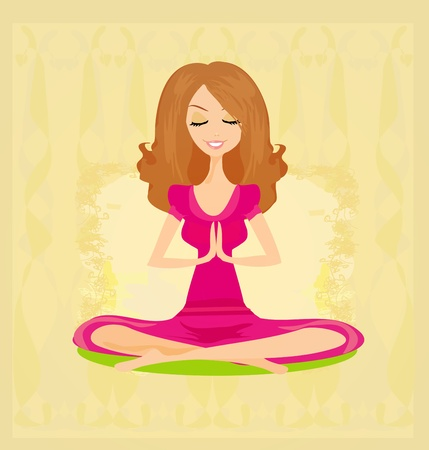 eastern health treatment: Yoga girl in lotus position  Illustration