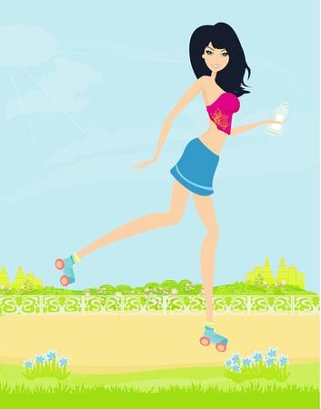 teen girl having fun on roller skates  Vector