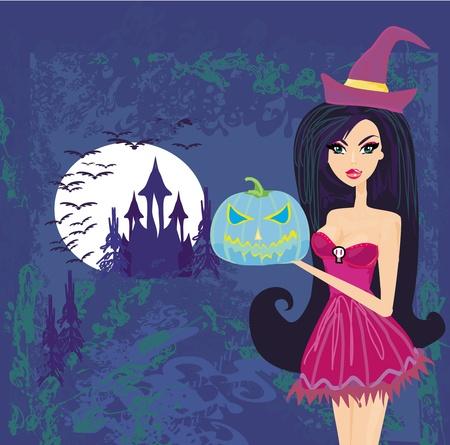 Halloween-Hexe stehend mit Kürbis Standard-Bild - 12885830
