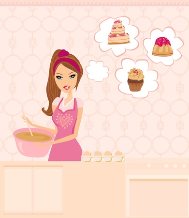 stereotypical housewife: Housewife cooking