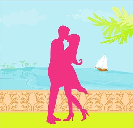 silhouette couple on tropical beach  Stock Vector - 12885671