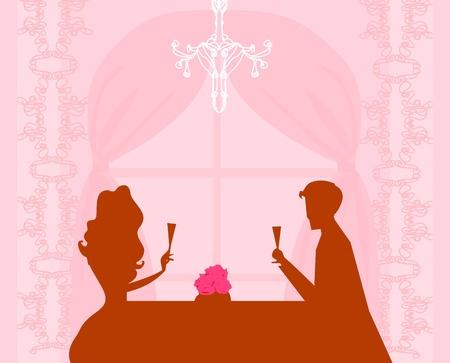 dinner date: Giovane coppia flirtare e bere champagne - invito