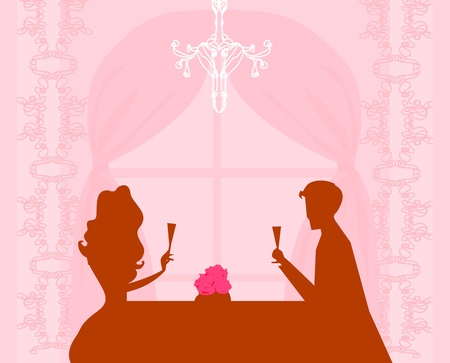 dinner date: Young couple flirt and drink champagne - invitation card
