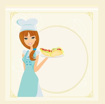 hermosa camarera con una bandeja