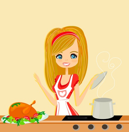 stereotypical housewife: Beautiful lady cooking