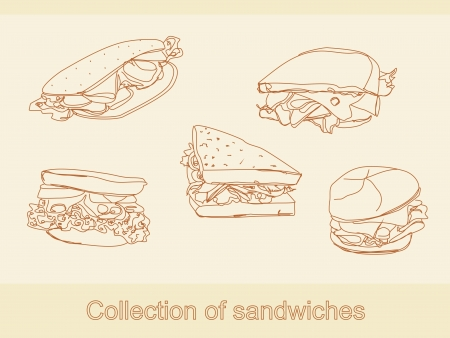 ham and cheese: Collection of sandwiches