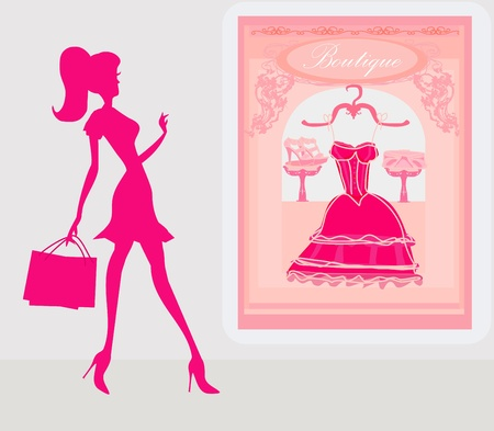 sexy belly: fashion girl Shopping illustration