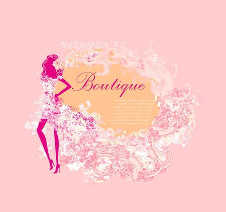fashion silhouettes girl Shopping - abstract frame  Vector