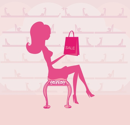 Fashion girl shopping in shoe shop  Stock Vector - 12885897