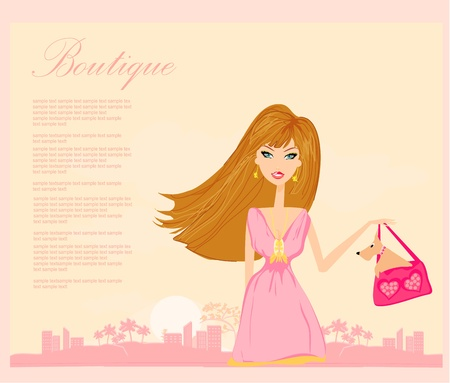 fashion girl Shopping  Vector
