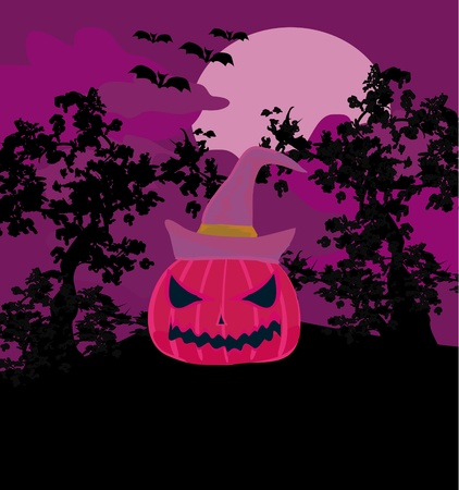 Vector Halloween background with pumpkin and bat  Abstract Classical autumn card with Place for your text   Vector