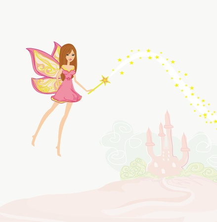 fairy flying above castle  Stock Vector - 12885914
