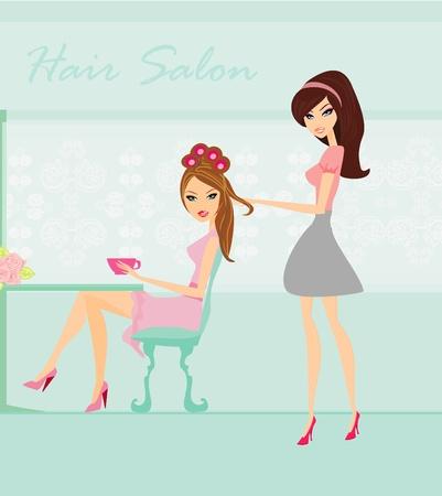 Vector illustration of the beautiful woman in hairdressing salon  Иллюстрация