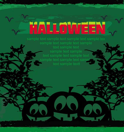 chap: broken halloween pumpkin on grunge green background vector illustration  Illustration