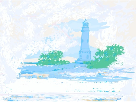 lighthouse seen from a tiny beach - Grunge Poster  Stock Vector - 12886003