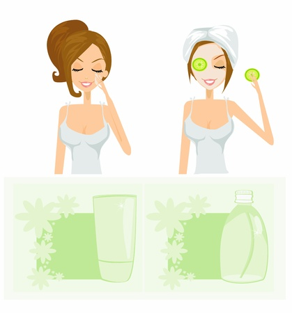 beauty women getting facial mask set Vector